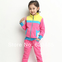Free shipping Children's clothing female child spring 2014 child spring child baby colorant match clothes sports set
