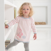 Dave davebella spring new arrival princess 100% cotton knitted long-sleeve dress baby skirt 905