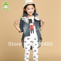 Free shippingAutumn children's clothing 2014 female denim outerwear female child denim coat long-sleeve child spring outerwear