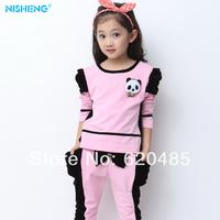Free shipping Children's clothing female child spring 2014 female child sportswear child sports set