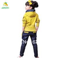 Free shipping Child set denim outerwear female child spring 2014 baby casual fashion sportswear autumn children's clothing