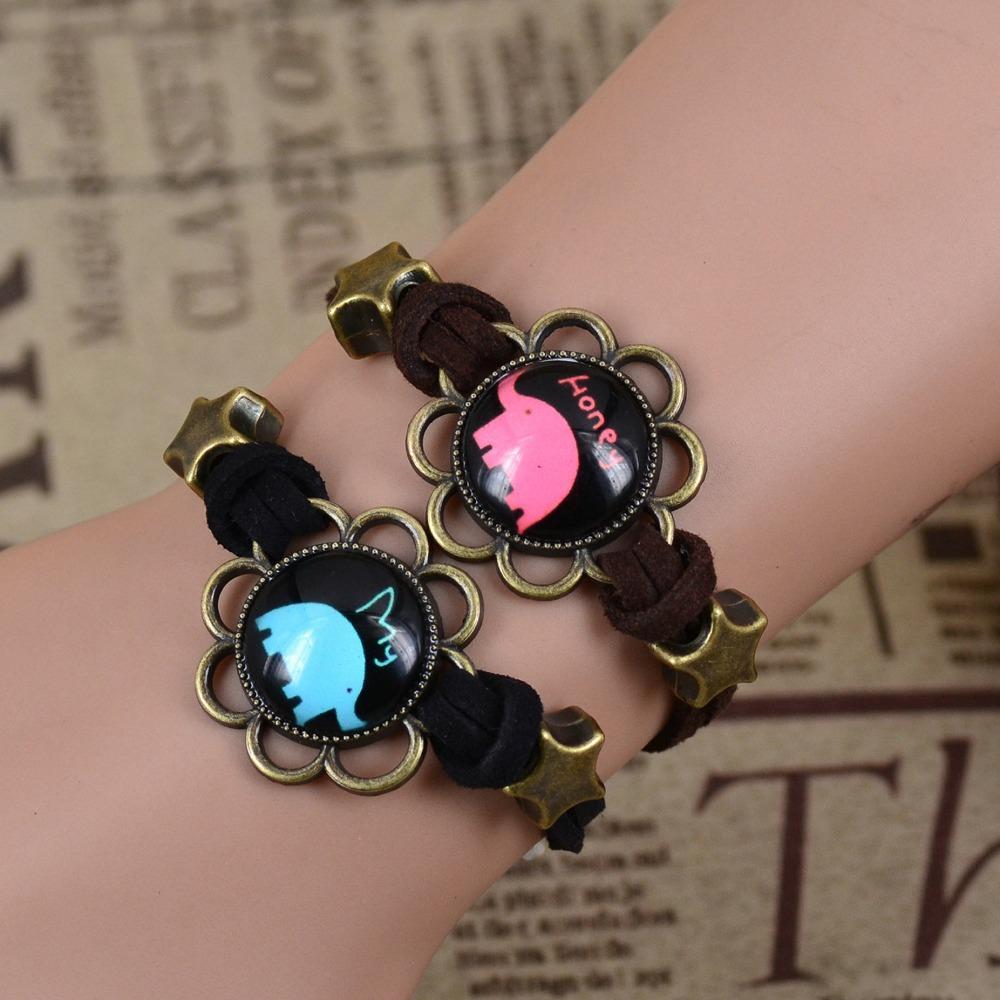 2PCS Friendship Sister Love Couple Gift My Honey Elephants With Star Beads Cabochons Bronze Pendant Korea