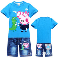 2014 most popular peppa pig cartoon clothing boys summer clothes o-neck t-shirt + jean shorts 2pcs kids clothes sets for 2~8Y