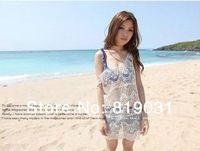 2014 new Women's Sexy Embroidery Floral Crochet Dress BOHO Beach maxi Tank Dress