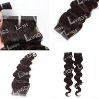 Grade AAAAA cheap Brazilian human body wave hair extension 8''-28''inch 1B# 50g/pc 60cm/set tape human hair extension