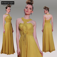 DORISQUEEN Freeshipping  Ready to Wear New Arrival A-line Applique Sleeveless30996 Ruched Evening Dress Long  2014