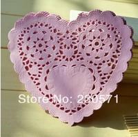 SS016044 6'' Vintage Pink Heart Paper Lace Doilies Placemat Craft Doyleys Wedding Tableware Decoration 50Pcs/Lot