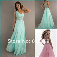 LF201 One Shoulder Sheer Back Design Beadings Decoration Long Chiffon A-line Mint Prom Dresses