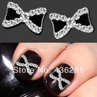 10pcs/pack 3D Metal Rhinestone Bowknot Nail Art Glitters Tips Decoration Manicure  NA062