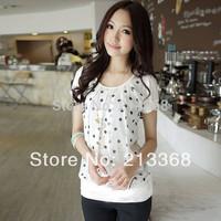 2014 Fashion S-XXLOffice Womens Polka Dot Pattern Short Sleeve Chiffon Tops Blouse Fit Sweet Lady #5834