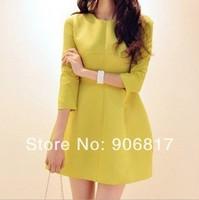 2014 New Korean Style Women Clothing Zipper False Two-Piece Dress Skinny Slim Three Quarter Sleeve Dress + Free Shipping