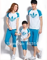 2014 New Cotton Children Casual clothing set t-shirt and pants Family Set Father Mother Daughter Son Summer Clothes Suit Kids