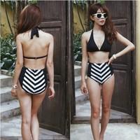 brand new 2014 black vintage tankini striped push up high waist bikini swimwear two piece swimsuit for women