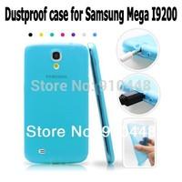 Free shipping Soft silicone Semi Transparent Gel Anti-skid TPU dustproof plug cover case for Samsung Galaxy Mega 6.3 i9200 9200