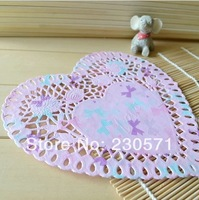 SS016052 8'' Colorful Heart Paper Lace Doilies Placemat Craft Wedding Tableware Decoration/Scrapbooking Card Making 50Pcs/Lot