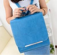Square shape Vintage trend tote preppy PU leather bag one shoulder cross-body female messenger bag dual-use SCHOOL bags