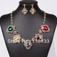 18K Gold Retro Crystal Exaggerated Accessories Rhinestone Costume Jewelry Sets Wedding Earrings Necklaces & Pendants For Women