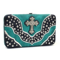 Rhinestone Studs Western Frame Wallet With Cross And Floral Trim High Quality Women Checkbook Wallets with Studs Girls Purse