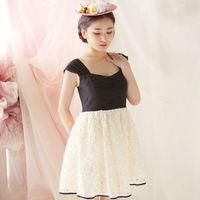 Free Shipping Women's Dresses The Three-dimensional Decals Decorate New Dress Of Tall Waist Sweet Princess Dresses L21225