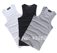 Men's cotton vests, rib vest sports, fitness vest sweat vest, bottoming shirt,3 pieces/lot  Free Shipping