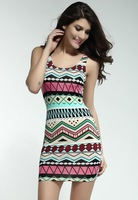 Fancy Form-fitting Stretch Mi ni Dress with Ethnic-print Blue Pink Baby Blue Green Women Tank LC2918