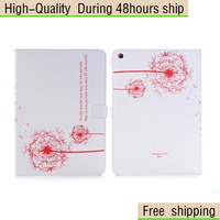 High Quality Magnetic Folio Dandelion Pattern Grain Leather flip Case For iPad Air iPad 5 Free Shipping DHL CPAM HKPAM