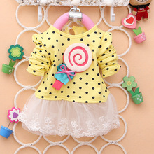 2014 Newest Fashion Spring Kids sweater greatly lollipop full version Dot Girls T-shirt stitching Baby Girls lace Dresses A131(China (Mainland))