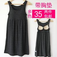 Female wireless bra belt pad one-piece dress spaghetti strap sports vest nightgown long design underwear sleepwear lounge
