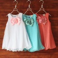 1 piece Retail 2014 Cute ruffles Little Girl dress Children Clothing Summer Sleeveless Chiffon Beach Clothes big flowers