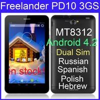 Freelander PD10 3GS tablet pc MTK8312 1.3GHz 4GB ROM 7.0 inch WCDMA Dual Sim phone call Bluetooth GPS Russian menu in stock/Elma