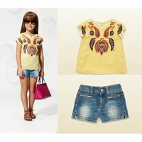 2014 New Novelty Summer Baby Girls Clothing Sets Yellow Top + Jeans / Denim Shorts  Children sets For Girls 2-7Year