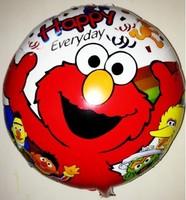 50pcs/lot New 18inch Round Cartoon Elmo Aluminum Foil Balloons Party Balloon Wedding Balloon Helium Balloon Free Shipping