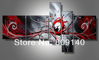 free shipping abstract Group oil painting canvas Red Grey Black Modern decoration high quality handmade home office wall art New