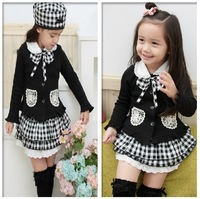 New Vintage College style children clothing girl 3 pcs set cardigan + skirt + hat,  Casual Fashion baby girls clothes suits