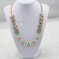 2014 Chunky Colorful Acrylic Rhinestone Chains Choker Necklace Jewelry Accessory Women Free Shipping JY0216025617
