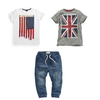 Free Shipping-6sets/lot -3pcs baby clothing suits-Flag Short Sleeve Boys (gray + white ) T-Shirt + Jeans - Boys Casual Suit