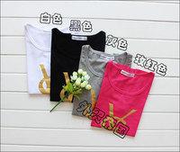 2014 summer new fashion brand ladies t-shirt, gilt letters ys t-shirt round neck short sleeve T-shirt free shipping Women