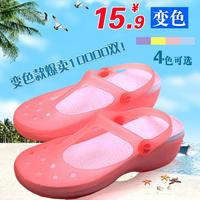 Heterochrosis hole summer jelly shoes female slippers platform flat heel sandals