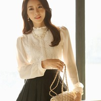 Fast/Free Shipping 2014 Spring Lace Stand Collar Chiffon Long-sleeve Female Blouses Women Clothing Solid Blouse A6365