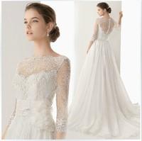 2014 new arrival lace  short trailing princess we dding dress custom sexy slit neckline dress free shipping
