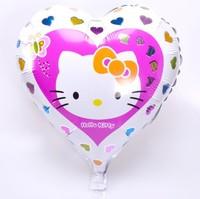 50pcs/lot New 18inch Cartoon Peach Heart Hello Kitty Aluminum Foil Balloons Party Balloon Wedding Balloon KT Cat Helium Balloon