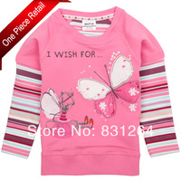 2014 New Toddler Baby Girls Fashion Nova Kids 100% Cotton Long Sleeve Butterfly T shirt Children Clothing Free Dropshipping