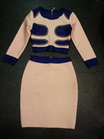NEW 2014 Sexy 2 Pieces Pink  Bandage Dress Celebrity Dresses Bodycon Elegant Party Prom Evening Dress