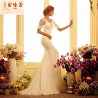 Luxury rhinestone V-neck fish tail train wedding dress custom for plus size free shipping