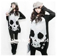 Korean Women Plus Size Fashion Skull Printed Long T-shirt Black Orange Punk Loose Casual  T shirt Tees Dress Free Shipping