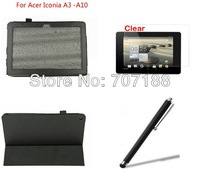 New Stand Folio  PU Leather Case Cove+Film+Stylus For Acer Iconia A3-A10 10.1 inch Tablet PC,free shipping!!!