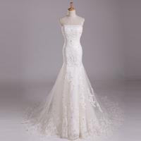 2014 sexy slim butt-lifting fish tail short train wedding dress custom lace tube top dress free shipping