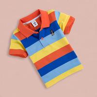 Children's clothing summer ploughboys 2014 T-shirt baby stripe short-sleeve shirt 100% cotton turn-down collar male child