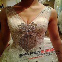 2014 sexy rhinestone v neck big train wedding dress custom lace double shoulder free shipping