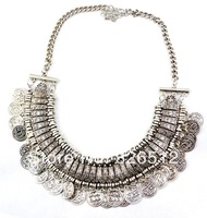 New Vintage Style Silver Carving Flower Alloy Letter Coin Tassels Choker Necklace 6 Pieces/lot